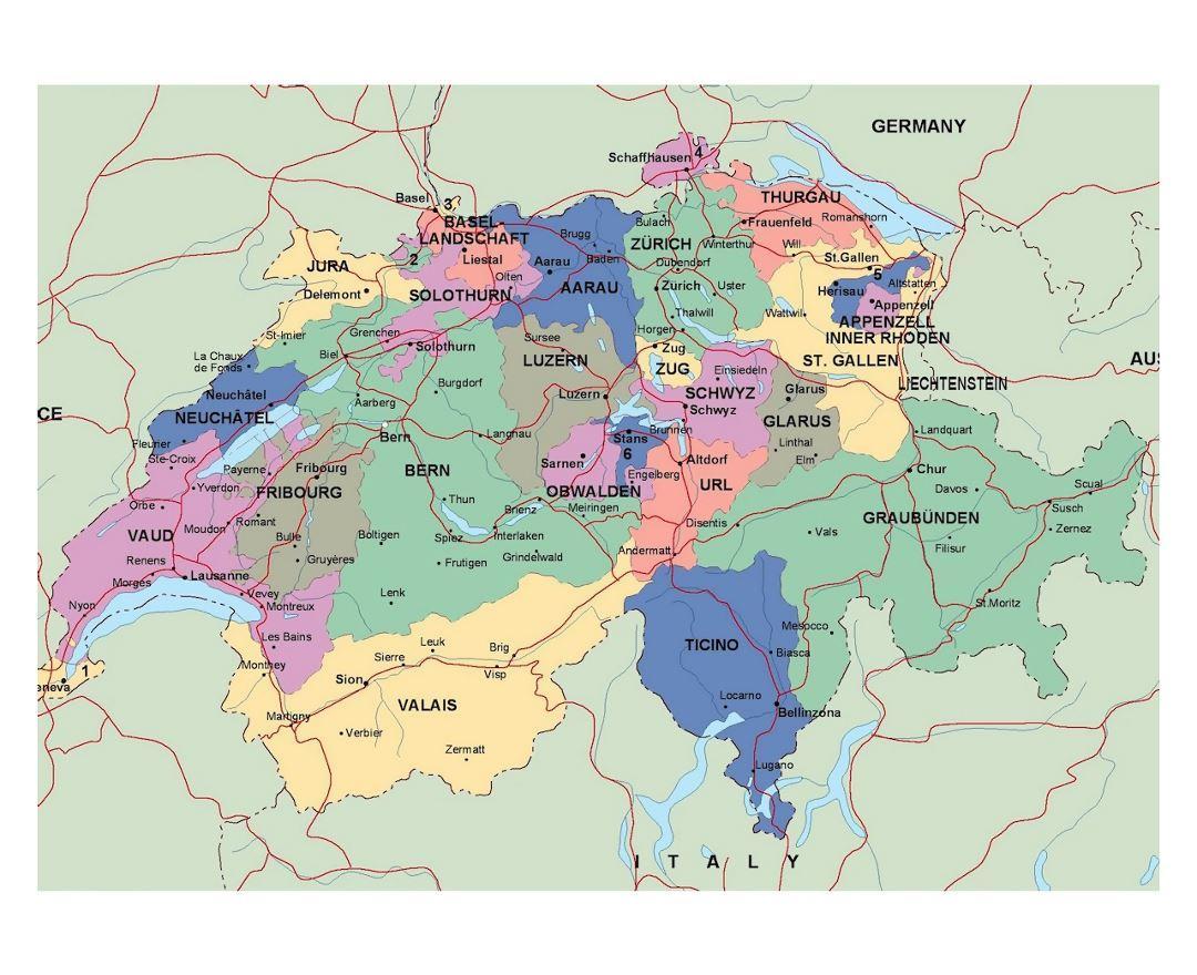 Mapa Puteva U Svicarskoj Detaljne Mapu Svicarske Zapadne Europe